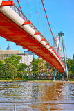 Suspension Bridge over Main River Stock Image