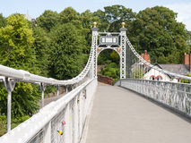 Suspension bridge. Over the River Dee in Chester Cheshire UK Royalty Free Stock Images