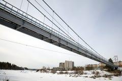 Suspension Bridge over the River Niva. Kandalaksha Royalty Free Stock Images