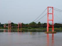 Suspension bridge over the River Ping. Stock Photo