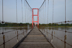 Suspension bridge over the River Ping Royalty Free Stock Photo