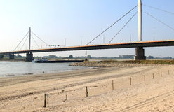 Suspension bridge over the river Waal in Holland Stock Images