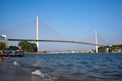 Suspension bridge over sea at Halong bay, vietnam, Southeast Asia.  Royalty Free Stock Photo