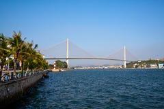 Suspension bridge over sea at Halong bay, vietnam, Southeast Asia.  Stock Photos