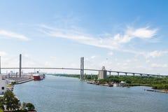 Suspension Bridge Over Shipping Port stock photos