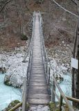 Suspension Bridge over Soca River Stock Photo