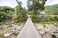 Suspension bridge over the stream Stock Photography