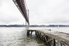 Suspension Bridge over the Tagus river Stock Photos