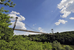 Suspension bridge over рекою the Teterev Royalty Free Stock Photo