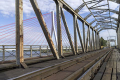 Suspension bridge over the Vistula river Royalty Free Stock Photography