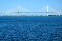 Suspension bridge over water. Arthur J, Ravenel bridge spanning the Cooper River in historic Charleston, South Carolina Royalty Free Stock Image