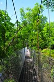 Suspension Bridge over Water at Horton Slough. View of suspension bridge over waterway at Horton Slough Park in Oklahoma Royalty Free Stock Images