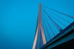 Suspension bridge over Wisla in Gdansk Poland. Royalty Free Stock Photos