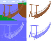 Suspension bridge in perspective view vector. Suspension bridge in perspective view Royalty Free Stock Photos