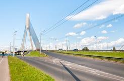 Suspension bridge of Riga. Royalty Free Stock Photos