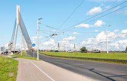 Suspension bridge of Riga. Royalty Free Stock Image