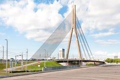 Suspension bridge of Riga. Stock Photography