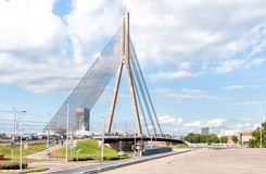 Suspension bridge of Riga. Royalty Free Stock Images
