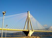Suspension bridge of Rio - Antirrio that crosses the Corinthian Gulf strait. stock photos