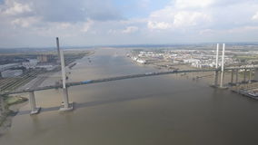 Suspension Bridge and River Aerial View stock video