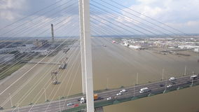 Suspension Bridge and River Aerial View stock video footage