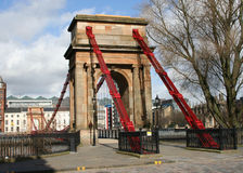 Suspension bridge, River Clyde, Glasgow Royalty Free Stock Images