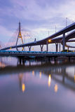 Suspension bridge river front and reflection ( Industrial Ring Road Bridge) in Bangkok Thailand Royalty Free Stock Image