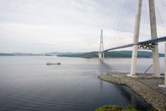 Suspension bridge on Russian island in Vladivostok Royalty Free Stock Photos