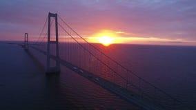 Suspension bridge on sea in Denmark stock video footage