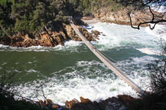 Suspension bridge in South Africa. Suspension bridge over the Storms River in Tsitsikamma National Park, South Africa stock photo