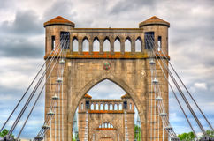 Suspension Bridge spanning the Loire in Langeais, France Royalty Free Stock Image