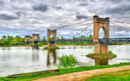 Suspension Bridge spanning the Loire in Langeais, France Royalty Free Stock Photography
