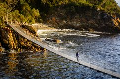 Suspension bridge in Storms River Mouth national park Royalty Free Stock Photo