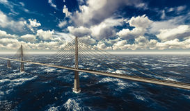 Suspension bridge on stormy ocean Royalty Free Stock Images