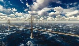 Suspension bridge on stormy ocean. 3d rendering of modern suspension bridge on stormy ocean Royalty Free Stock Images