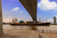 Suspension bridge structure Stock Images