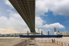 Suspension bridge structure Stock Photo