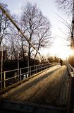 Suspension Bridge on Sunny Day Stock Images
