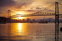 Suspension Bridge at Sunset Royalty Free Stock Photography