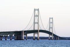 Suspension bridge after sunset Stock Photo