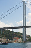 Suspension bridge support against blue sky Stock Images
