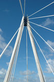 Suspension bridge supports. The top of a suspension bridge in the north-west of England, taken on a bright day with blue sky Royalty Free Stock Photography