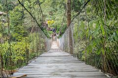 Suspension Bridge in Tangkahan, Indonesia. People usually cross the river with suspension bridge,  so there is no need to cross the river on this old river boat Royalty Free Stock Images