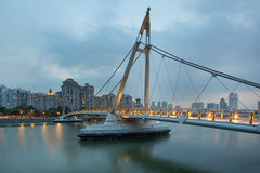 Suspension  Bridge at Tanjong Rhu. Suspension Bridge Over Geylang River at Tanjong Rhu in Singapore at Evening Blue Hour Stock Photos