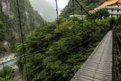 Suspension bridge at the Taroko National Park, Taiwan Royalty Free Stock Images