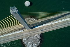 Suspension bridge tower inspection Sunshine Skyway Tampa Bay Flo. Aerial photography Suspension bridge tower inspection Sunshine Skyway Tampa Bay Florida stock photo