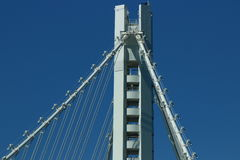 Suspension Bridge Tower. This is a photo of  Self-Anchored Suspension Span Tower of the bay bridge Royalty Free Stock Photography