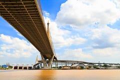 Suspension bridge. View of under the suspension bridge Royalty Free Stock Image