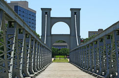 Suspension Bridge In Waco. Suspension bridge that cross brazos river in waco, texas, united states Stock Images