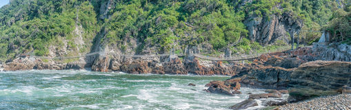 Suspension bridges at the mouth of Storms River Royalty Free Stock Photo